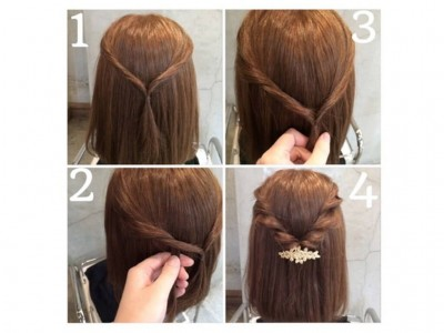 結婚式 髪型 ミディアム ハーフアップ 簡単